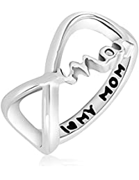 Mahi Rhodium Plated Mother's Day Special Love Mom Ring For Women FR1100631R