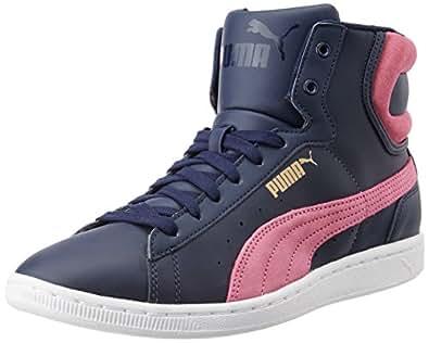 Puma Women's Puma Vikky Mid LS Peacoat and Carmine Rose Sneakers - 7 UK/India (40.5 EU)