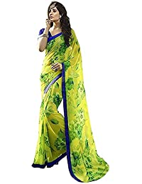 Clothsfab Women's Georgette Sarees With Blouse Piece (Aaaa..Jannu _Yellow)