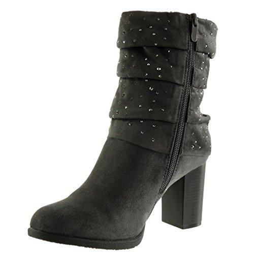 Angkorly Damen Schuhe Stiefeletten - Flexible - Classic - Strass Blockabsatz High Heel 8 cm Grau