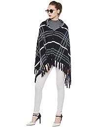 CAYMAN Navy-Blue & Grey-millange Reversible Acrylic Wool Poncho Sweater