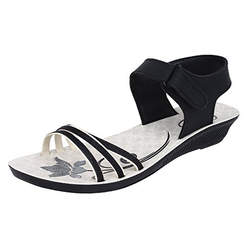 Earton Women's Black-815 PUFashion Sandals 8 UK