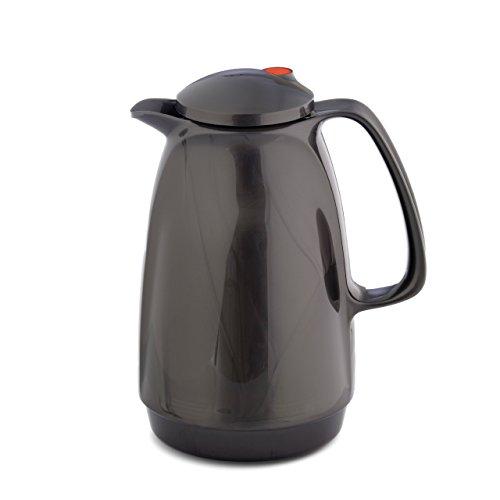 Isolierkanne 220 1 Liter (titan silver) | Doppelwandige Vakuumisolierung | Zweifunktions-Drehverschluss | BPA Frei- gesundes trinken | Made in Germany | Warm + Kalthaltung | Glaseinsatz