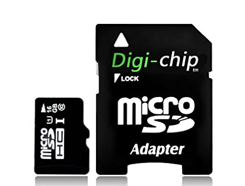 Digi-Chip 16GB Micro-SD Class 10 UHS-1 Speicherkarte für Samsung Galaxy S5, K, Y, A3, A5, E5, E7, A7 Z1, S4 Mini & Galaxy S5 Mini
