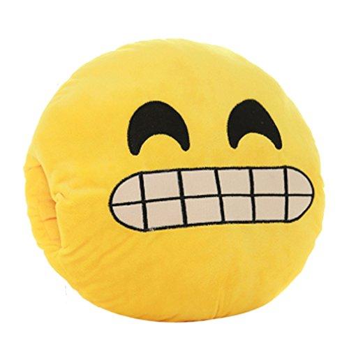 Tonsee Gelbe Runde weiche Emoji Smiley Emoticon gefüllte Plüsch Spielzeug Puppe Händen wärmer Kissen Eingreifen Kissen,Entblößten Zähnen