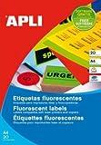 Etiquetas adhesivas Apli A4 fluorescentes naranja 2875