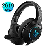 DIZA100 Gaming Headset für PS4 Xbox One PC, Gaming Kopfhörer mit Noise Cancelling Mikrofon Buntes LED-Licht Bass Surround für Nintendo Switch Laptop Smartphones (Black)