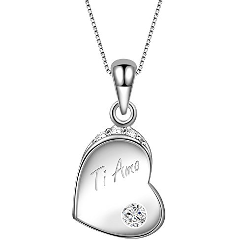 Dawanza-regalo festa della mamma-collana in argento sterling 925-pendente a cuore con incisione di zirconi cubici
