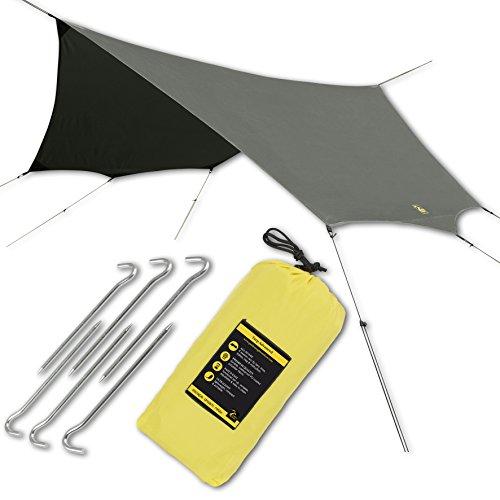 Hängematte Regen Sonne Fliegen Zelt Plane Pro Wasserdicht Camping Shelter. Leicht, einfach Setup, beste Qualität Polyester 190T. 320x 320cm/320x 320cm.