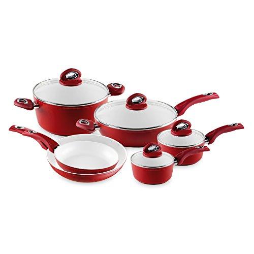 Bialetti Aeternum Pfannen Kochgeschirr-Set 10 Piece Aeternum Red Sauce Pan Set