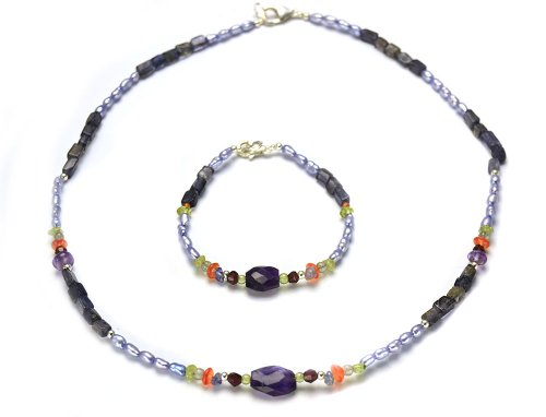 Diorita - Pulsera y collar de Perla morada e Iolit