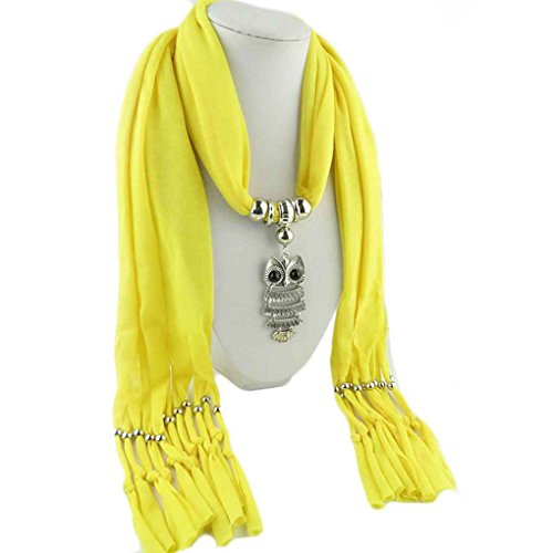 LUFA Woman's Classic Owl Pendant Jewelry Scarf Necklace Scarf Fringed Long Scarf