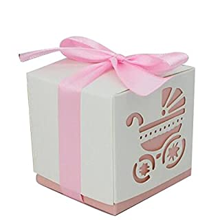 10 Party Geschenk Schnitt Baby Dusche Candy Band Boxen Kutsche Dusche Favor Bonbonniere Hochzeit rose