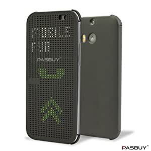 PASBUY Ultra Slim Dot View Retro Flip Case Cover+Two Touch Pens-Retail Packaging for HTC One M8 (Gray)