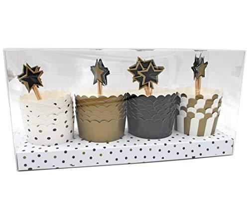 MIGROS Cupcake Förmchen mit Stern-Piekser ~ 24 Stück ~ aus Karton/Papier ~ d=6cm ~ Muffin-Form