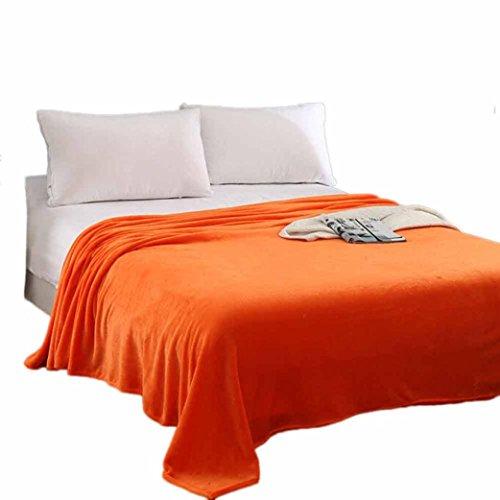 Warm Vlies Decke HARRYSTORE Super Weich Solide Warm Mikro Plüsch Fleecedecke Werfen Teppich Sofa Bettwäsche (S: 70*100cm, Orange) (Plüsch Orange Werfen)