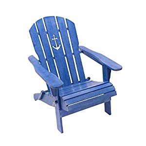 Pureday Outdoor-Stuhl Anker - Adirondack Chair klappbar - Maritimer Look - Holz - Blau