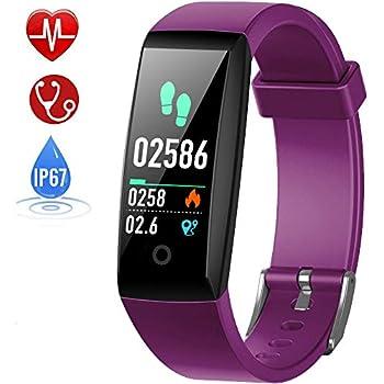 HETP Pulsera de Actividad, Reloj Inteligente con Pulsómetro y Presión Arterial Relojes Deportivos GPS Impermeable