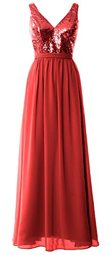 MACloth Women Straps V Neck Sequin Maxi Bridesmaid Dress 2017 Simple Prom Gown red