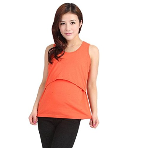 Ineternet Enceinte Vêtements de Maternité Nursing Tops T-shirt Allaitement Vest (Orange)