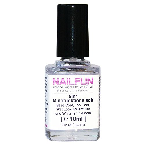 5in1 Multifunktionslack 10ml Base Coat / Top Coat / Wet Look / Rillenfüller / Whitener in einem
