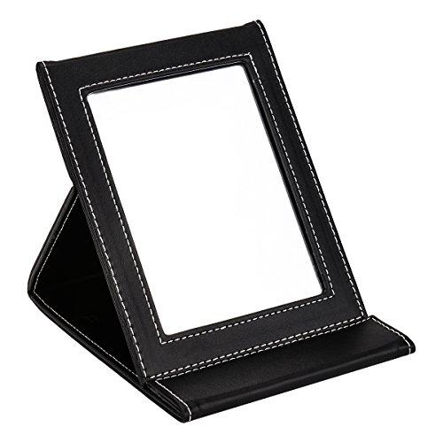 Portátil plegable espejo de tocador, pequeño de pie espejo de maquillaje espejo de sobremesa para preparar hasta, negro con acolchado de piel sintética para