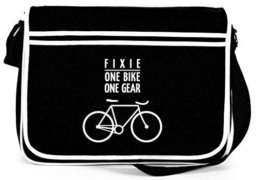 Shirtstreet24, Fixie - One Bike, Singlespeed Fahrrad Retro Messenger Bag Kuriertasche Umhängetasche , Größe: onesize,Schwarz
