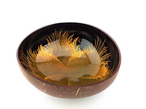 Batriozo Einzigartige Kokosnussschale - Gold - Hochwertige Dekoschale - 100% Handgemacht und Umweltfreundlich - Vielseitig Einsetzbar - Coconut Bowl