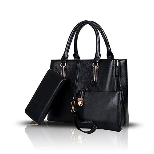 Sunas La borsa delle nuove donne adatta grande capacità 3 insiemi di sacchetto femminile del raso del sacchetto di spalla dell'unità di elaborazione nero