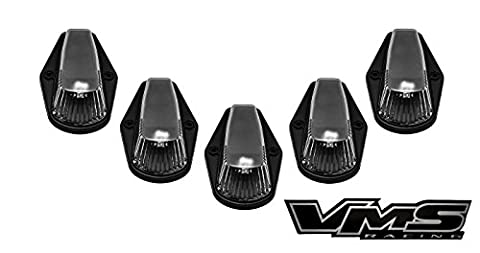 80-97 VMS Racing BLACK BASE Cab Roof Marker Lights in CLEAR LENS with AMBER LEDs for CRL 264139CL for FORD F350 F250 F150 (5 Piece COVERS with BASE Complete Kit) 1980-1997
