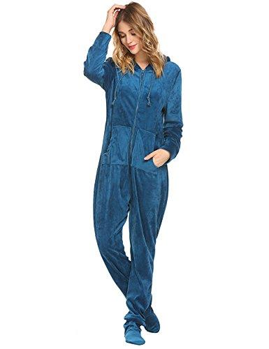 UNibelle Damen Jumpsuit Langarm Schlafanzug Strampelanzug Erwachsene Pyjama Hausanzug mit Kapuzen Pfauenblau S