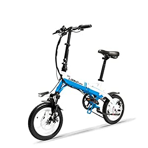 412wmj6dRwL. SS300 LANKELEISI A6 Mini Bicicletta Pieghevole Portatile E, Bicicletta elettrica da 14 Pollici, Motore 36V 400W, Cerchio in Lega di magnesio, Forcella di Sospensione