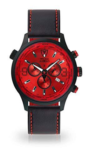 DETOMASO AURINO Herren-Armbanduhr Chronograph Analog Quarz Schwarzes Edelstahl-Gehäuse Rotes Zifferblatt (Leder - Schwarz (Naht: Rot))