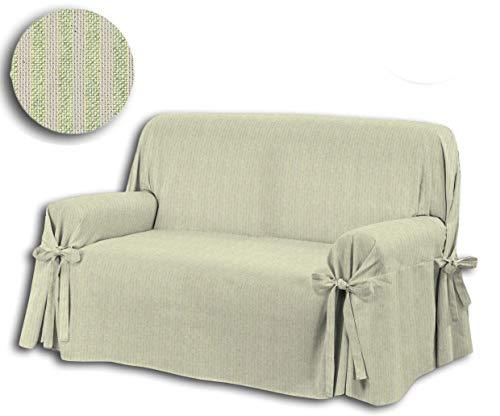 Centesimo Web Shop COPRIDIVANO Laccetti in in 3 Misure Verde Copri Divano Fiocchi Copri Poltrona Rigato Classico Righe - Verde - Due posti