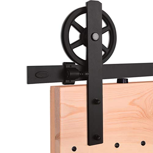 6.6FT/201cm Schiebe Tür-Hardware-Track-Kit Einzeltür Holztür - Sliding Barn Wood Door Hardware Track Kit For Single Door Big Wheel Roller Hanger Set - Tür-hardware Und Schiebe-tür