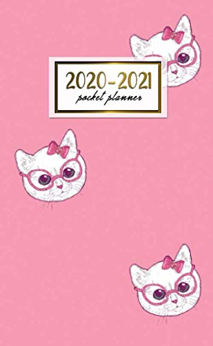 2020-2021 Pocket Planner: 2 Year Pocket Monthly Organizer & Calendar | Two-Year (24 months) Agenda With Phone Book, Password Log and Notebook | Cute Cat & Glasses Print