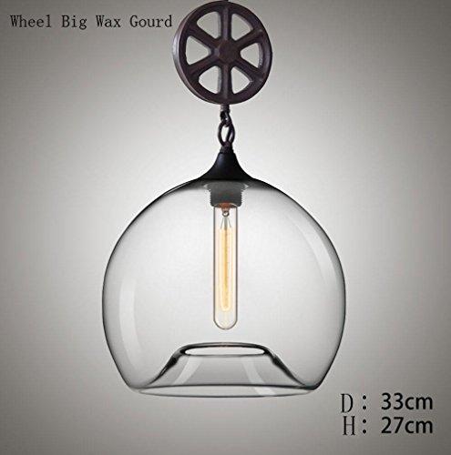 Moderne minimalistische Farbe Goldfisch-Tank High Light mundgeblasenes Glas Edison Eisen Hängelampe 60 W 3 m2-5 m² für Wohnzimmer Café Bar Kronleuchter Grinding Wheel Big Wax gourd