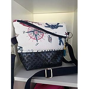 Ausgefallene Damen-Handtasche – Foldover – Blau-Glimmer – Maritim Neu