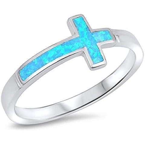 Anello Croce Sideway argento sterlina con lo Zirconia cubico
