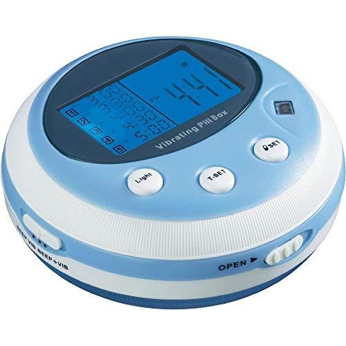 PROFI vibrierende Pillenbox mit Piepton und Vibration Alarm Medikamentenbox Pillendose Pulsmesser Wecker Uhr (5 Alarmzeiten/Tag) Tablettendose Tablettenbox Tabletten Einnahme Erinnerung