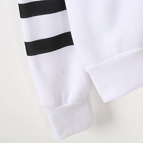 Siswong Pull à capuchon de style simple à manches longues pull à capuche pull molletonné des femmes Blanc