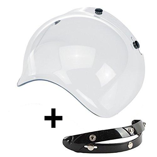 Visera Bubble 3botones abatible transparente Borrar universal para casco jet compatible con cascos Biltwell Bell DMD Bandit AFX Nolan AGV