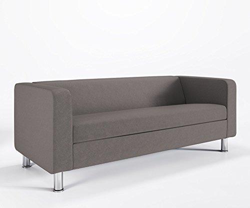 Loungesofa 3-Sitzer CUBBY 4N3 Cocktailsofa Hotelsofa Bürocouch Webstruktur LUNA, Farbe:L15 - Betongrau