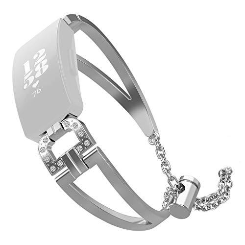 Für Fitbit Inspire/Inspire HR Armband MuSheng Mode Ersatz Luxus D Wort Metall Kristall Bracelet Armband Damen Herren Watchband Sport Bracelet Luxus Strap für Fitbit Inspire/Inspire HR (Silber)