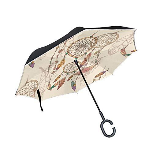 SKYDA Paraguas invertido de Doble Capa, Plegable, Bohemio, atrapasueños, Resistente al Viento, con Mango en Forma de C