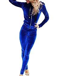 Femmes Costume Sportif Casual Avec Fermeture éclair Capuche Sweat-shirt et Pantalon de Survêtement 2pcs