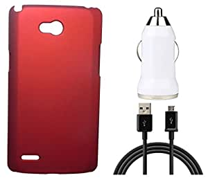 Toppings Hard Case Cover With Car Charger & Data Cable For LG L80 - Red
