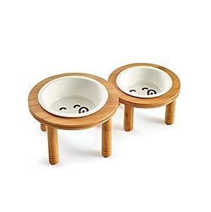 Taihang Céramique Pet Bowl avec Support en Bambou Robuste pour la Nourriture et Les Bols d'eau