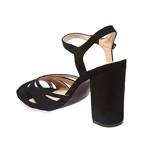 La Modeuse Sandales Femme en Suédine Noir