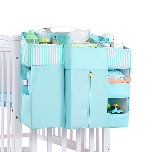 Organizador de Pañales, Sunzit Bebé Organizador Multifunción para Colgar en la Mesita de Noche Bolsa de Almacenamiento - Azul claro